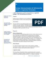 Pasivos financieros, pasivos impositivos y capital de trabajo– NIC 36 Deterioro de activos