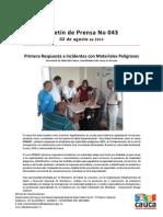 Boletín 043_ Primera Respuesta a incidentes con Materiales Peligrosos