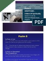 Gratitude - A Mark of Spirituality (Psalm 8)