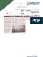 Informe de prensa semana del 26 de julio al 2 de agosto de 2013