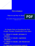 Governance 15 May 2009
