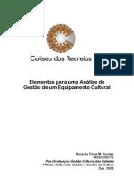 Elementos para uma Análise de Gestão de um Equipamento Cultural