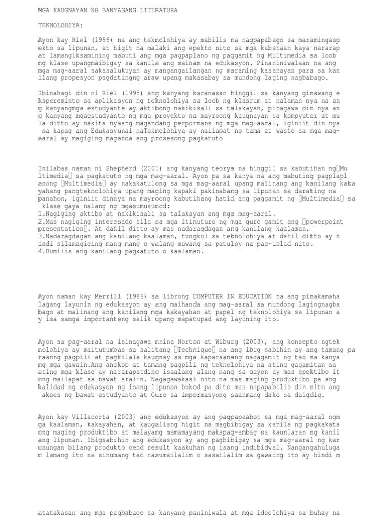 filipino thesis epekto ng teknolohiya