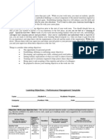 Learning Objectives and Performance Management Template 2010