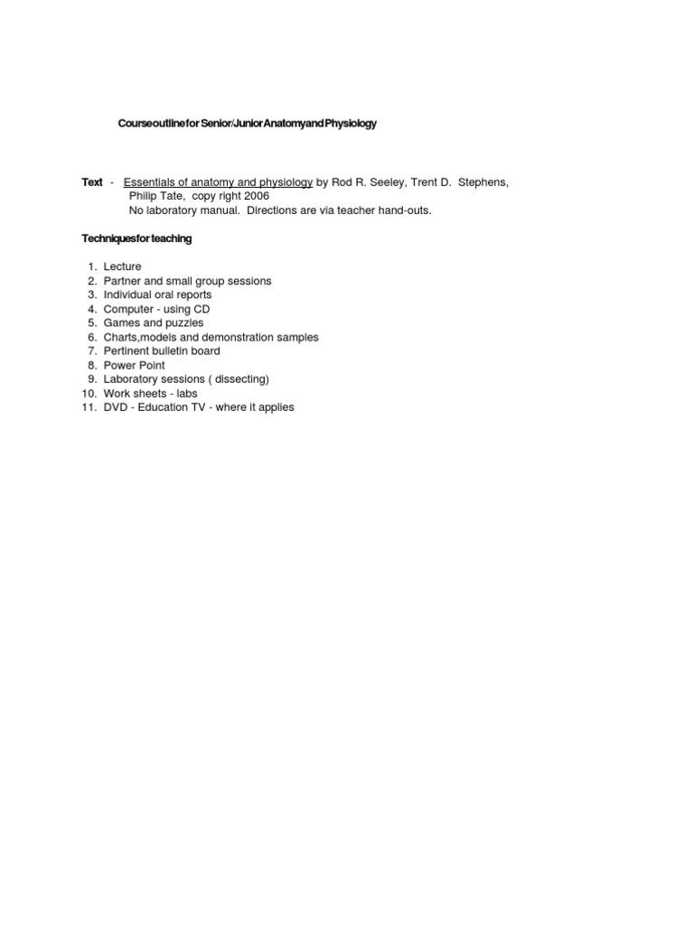 A and P Syllabus -A | Tissue (Biology) | Anatomy