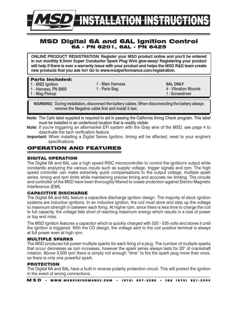 msd digital, 6al ignition control, pn 6425 | ignition system | distributor
