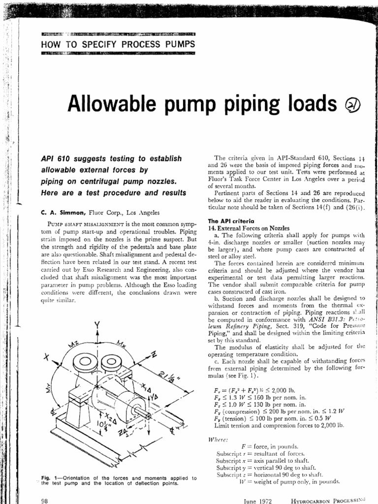 Allowable Pump Piping Loads | Pump | Pipe (Fluid Conveyance)