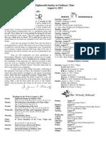 August 4, 2013 Bulletin