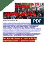 Noticias Uruguayas sábado 3 de agosto del 2013