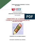 """COMENTARIO DE LA MONOGRAFÍA """"CALIDAD DE LA EDUCACIÓN BASADA EN LOS VALORES DE VIDA"""""""