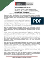 MINISTRO DEL INTERIOR LLAMÓ AL PAÍS A UNIRSE CONTRA LA INSEGURIDAD CIUDADANA