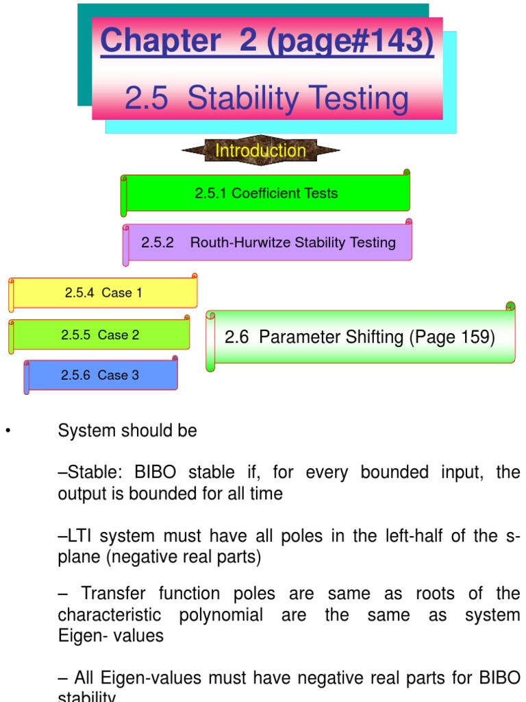 Chapter 2 Stability Testing Routh Hurwitz | Stability Theory
