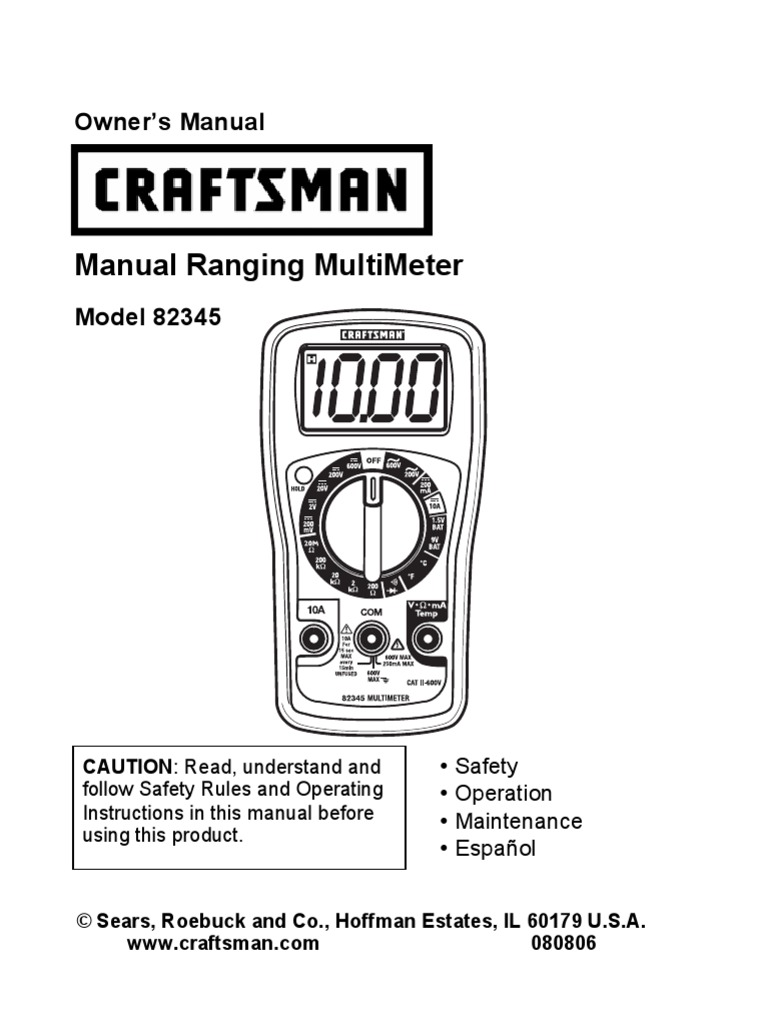 Craftsman 82345 Multi Meter Manual Switch Battery Electricity Jamo Subwoofer Wiring Diagram