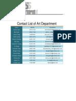Contact List of Art Department