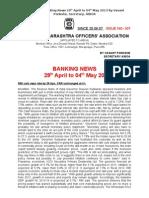307th Isuue BOM Banking News 29th April to 04th May 2013 by Vasant Ponkshe Secretary AIBOA