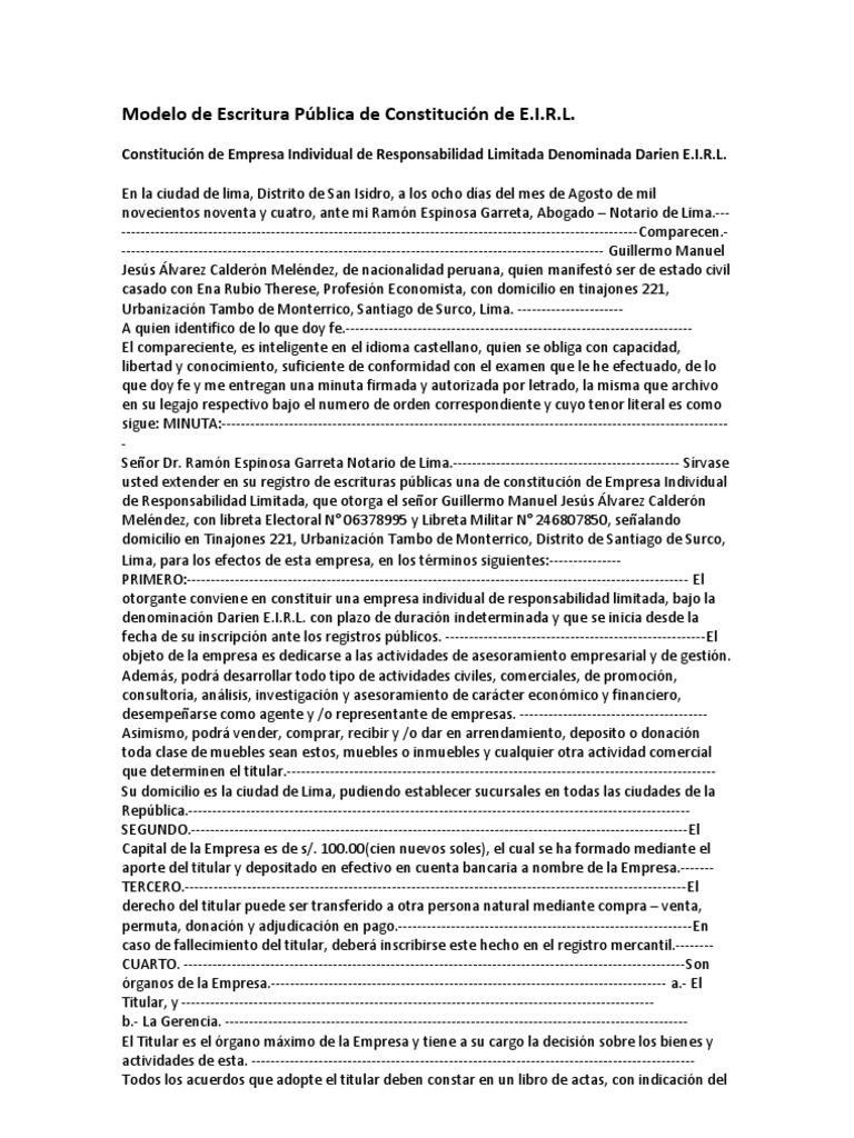Modelo de Escritura Pública de Constitución de EIRL