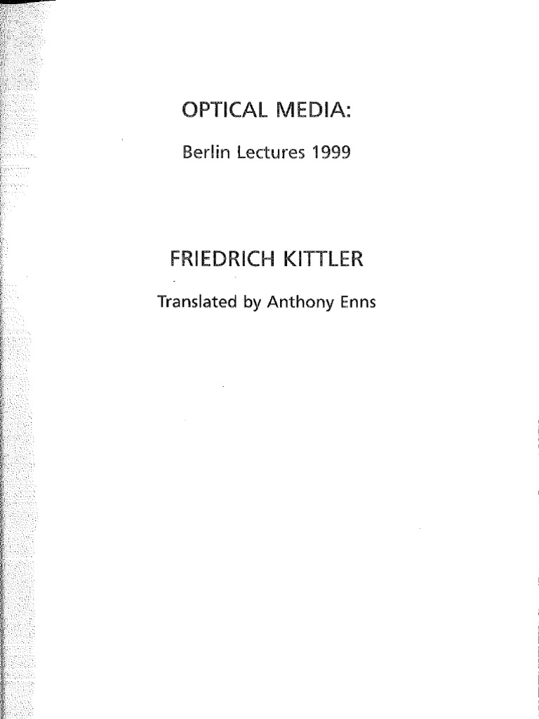 Kittler Friedrich Optical Media PDF   Martin Heidegger   Mass Media 50863d6eaa