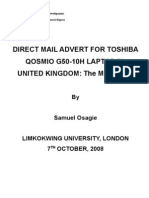 Direct Mail Advert for Toshiba Qosmio g50-10h in Uk