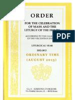 ORDO 2012/2013 - Order for Celebrations in August