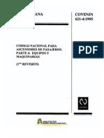 Covenin 0621-4-1995 Ascensores, Equipos y Maquinarias.pdf