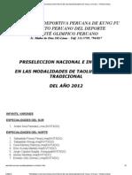 Preseleccion Nacional e Invitados en Las Modalidades de Taolu Oficial y Tradicional