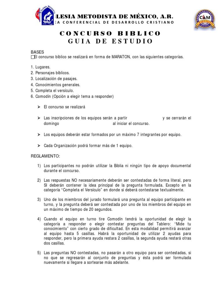 concurso biblico 2013 conocimientos generales