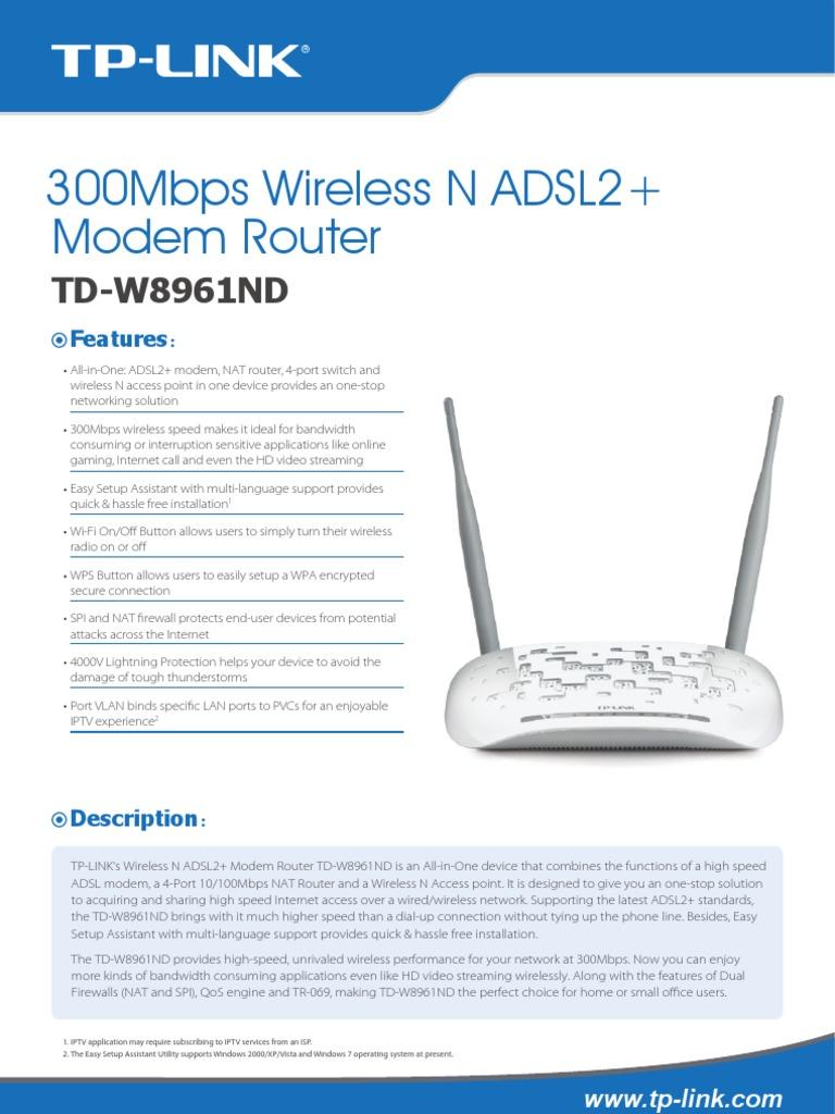 300Mbps Wireless N ADSL2+ Modem Router: TD-W8961ND