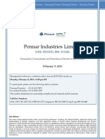 Pennar Q3 FY2013 Earnings Release