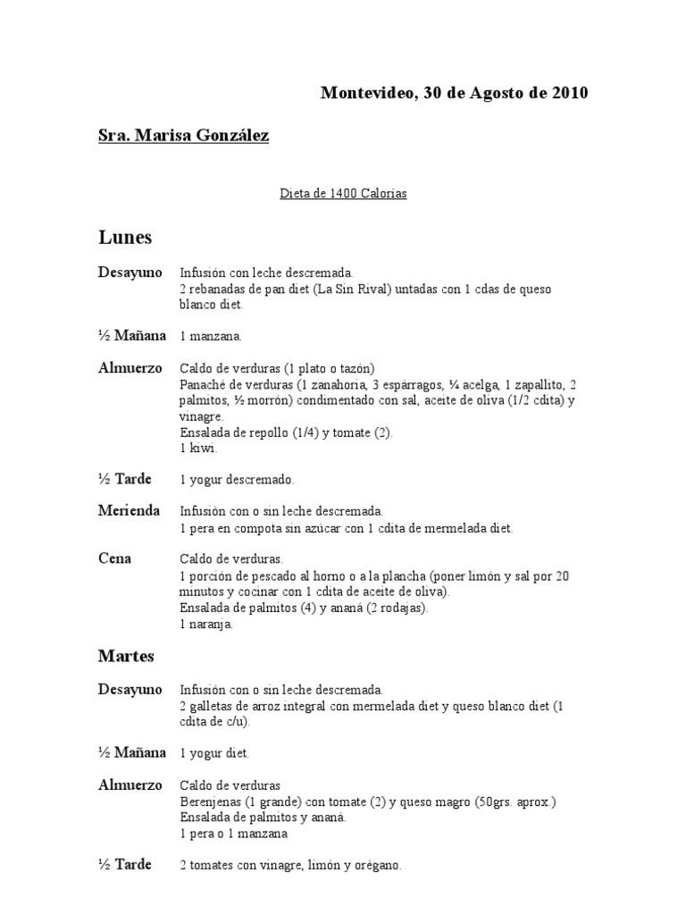 Dieta de 1400 calorias argentina