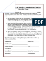 Common Core Standards Testing Opt-Out Form 8-2-13