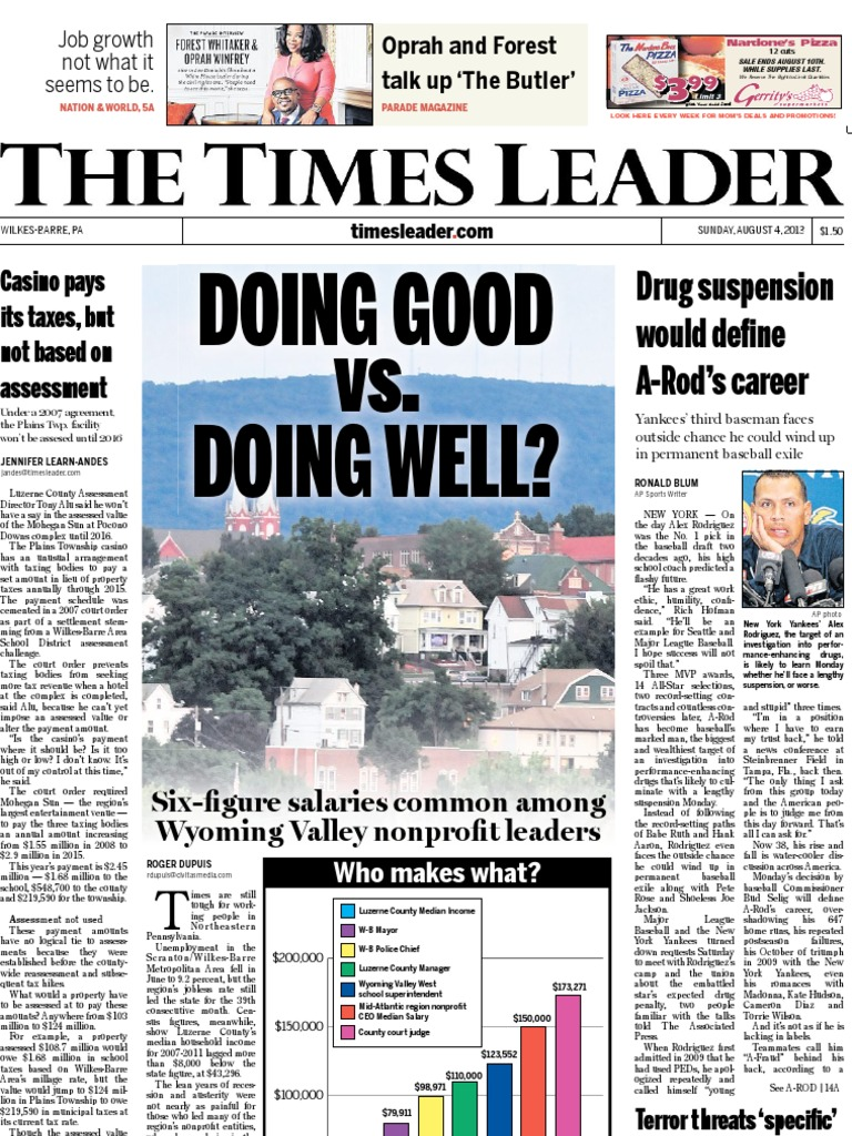 Times Leader 08 04 2013 Cable Television School Meal Parcel Makanan Pja 1607