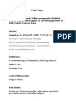 Role of Endoscopic Ultrasonography Guided Celiac Plexus Neurolysis in the Management of Pancreatic Cancer Pain