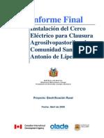 Informe Instalacion Cerco Electrico-Bolivia