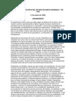 CONSTITUCIÓN POLÍTICA DEL ESTADO DE NUEVA GRANADA 1