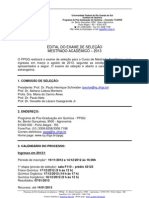 Edital de Selecao de Mestrado 2013- Ppgq