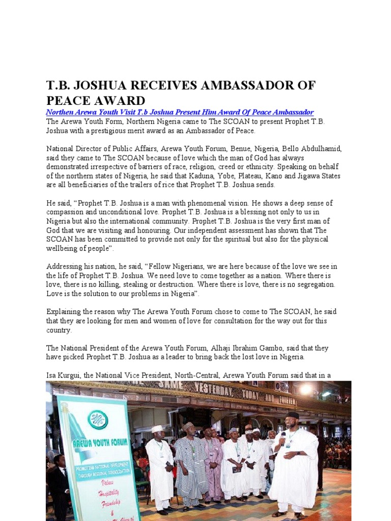 t b  Joshua Receives Ambassador of Peace Award | Nigeria