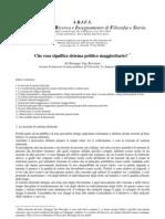 Giuseppe Ugo Rescigno, Che cosa significa sistema politico maggioritario?