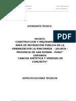 3.- Especificaciones Tecnicas Cancha Cesped Sintetico