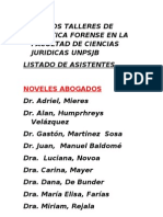 Listado de Asistentes a Los Talleres de Practica Forense