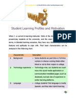 Student Learning Profiles and Motivation