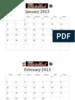 2013 Calendar Bengals Football