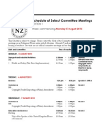 New Zealand Select Committee Meetings scheduled for week of August 5, 2013
