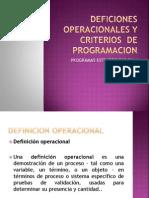 Deficiones Operacionales y Criterios de Programacion Exposicion