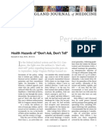 "Katz KA. Health Hazards of ""Don't Ask, Don't Tell"" -- New England Journal of Medicine Dec 2010"