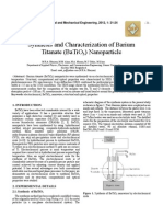 Synthesis and Characterization of Barium Titanate (BaTiO3) Nanoparticle