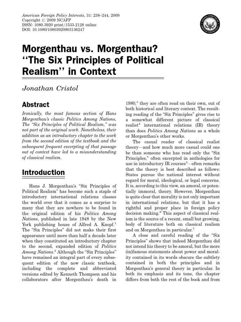Morgenthau V Morgenthau International Relations Rationality