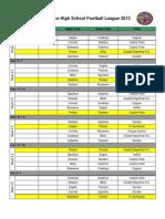 P.R.H.S.F.L. Schedule 2013