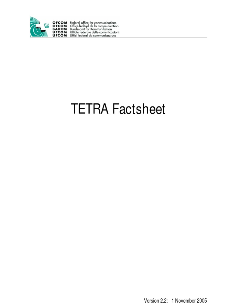 Tetra Factsheet 1 Duplex Telecommunications Channel Access Method