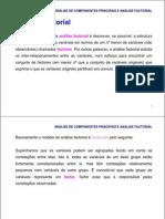 ANÁLISE DE COMPONENTES PRINCIPAIS E FATORIAL