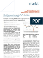 EuroZone Composite PMI August 5th 2013